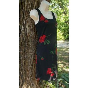 Black A-Line Dress with Red Rose Print - Medium